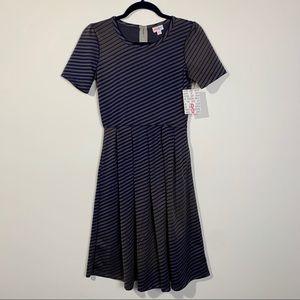 LuLaRoe Amelia dress gray and blue stripped NWT